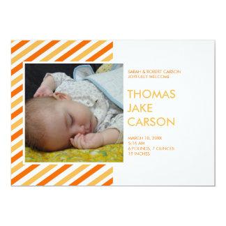 Invitación anaranjada del nacimiento del bebé de invitación 12,7 x 17,8 cm