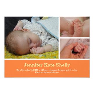Invitación anaranjada del nacimiento del bebé de l