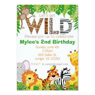 Invitación animal del cumpleaños del safari de la