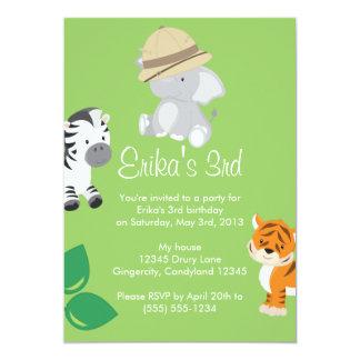 Invitación animal del safari del bebé invitación 12,7 x 17,8 cm