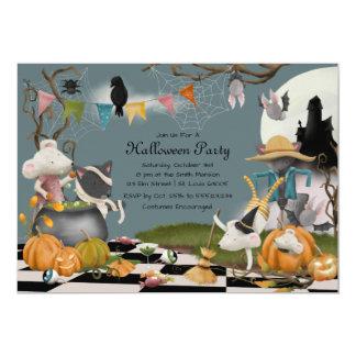 Invitación animal linda del fiesta de Halloween