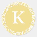 Invitación antigua de Personalizable del oro del m Etiquetas Redondas