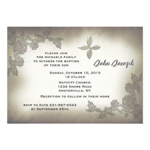 Invitación antigua del bautismo de los rosas