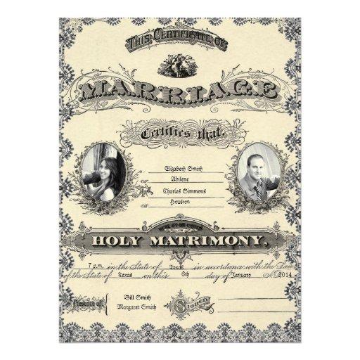 Invitación antigua del boda de la foto del permiso
