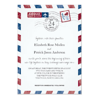 Invitación antigua del boda del correo aéreo