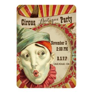 Invitación antigua del fiesta del tema del circo