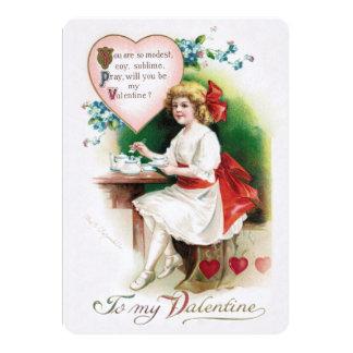 Invitación antigua del té de la tarjeta del día de