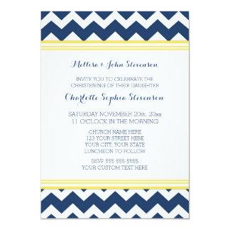 Invitación azul amarilla del bautizo de Chevron Invitación 12,7 X 17,8 Cm