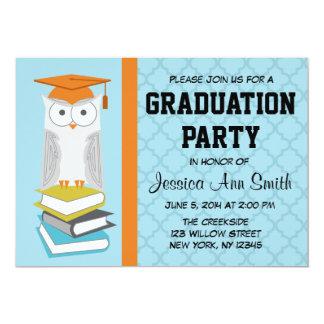 Invitación azul/anaranjada de la graduación del
