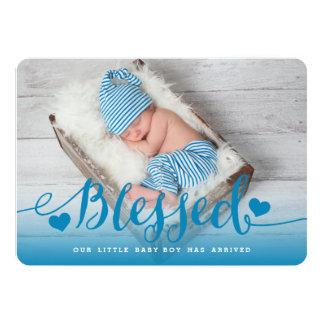 Tarjeta Invitación azul bendecida del nacimiento del bebé