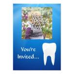 Invitación azul/blanca de la foto del diente invitación 12,7 x 17,8 cm