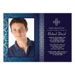 Invitación azul brillante de la foto (horizontal)