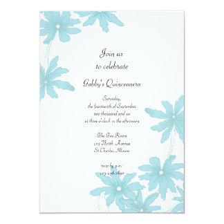 Invitación azul clara del fiesta de Quinceanera de