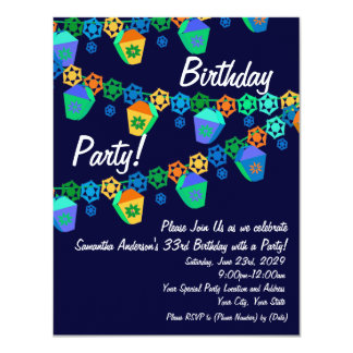 Invitación azul colorida de la fiesta de
