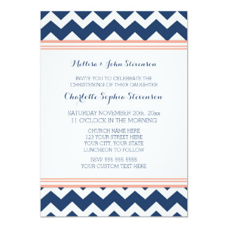 Invitación azul coralina del bautizo de Chevron Invitación 12,7 X 17,8 Cm