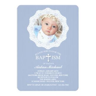 Invitación azul cruzada de la foto del bautismo invitación 12,7 x 17,8 cm