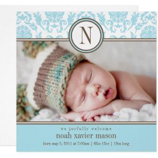 Invitación azul cuadrada del nacimiento del