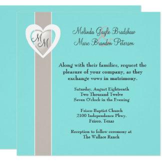 Invitación azul de color topo y de la aguamarina