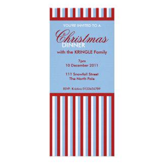 Invitación azul de la cena de navidad de las rayas