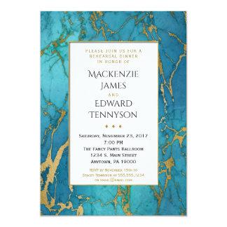 Invitación azul de la cena del ensayo del mármol