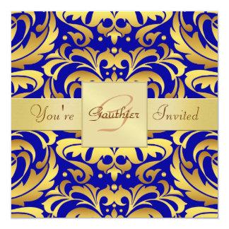 Invitación azul de la cinta de la hoja de oro del