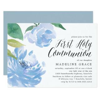 Invitación azul de la comunión santa del Peony el