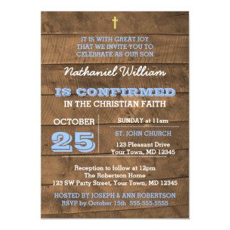 Invitación azul de la confirmación de Barnwood