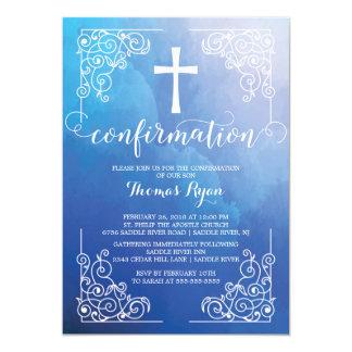Invitación azul de la confirmación de la cruz de