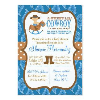 Invitación azul de la ducha del bebé del vaquero