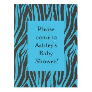 Invitación azul de la ducha del cumpleaños de la tarjetas postales