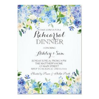 Invitación azul de la ducha del hydrangea