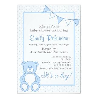 Invitación azul de la ducha del oso de peluche -