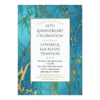 Invitación azul de la fiesta de aniversario del