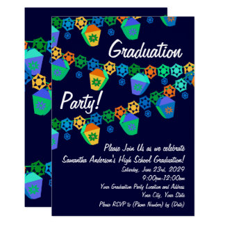 Invitación azul de la fiesta de graduación de Luau