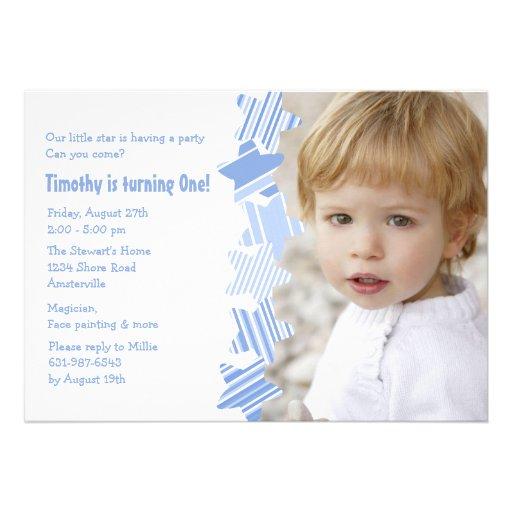 Invitación azul de la foto de la estrella del cump