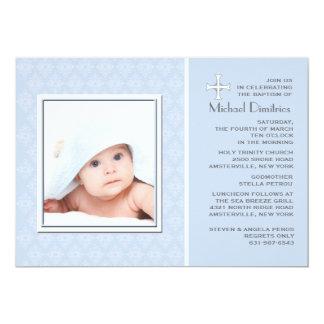Invitación azul de la foto del cordón del diamante invitación 12,7 x 17,8 cm