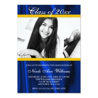 Invitación azul de la graduación de la foto del invitación 12,7 x 17,8 cm