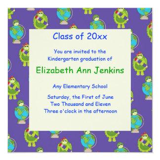 Invitación azul de la graduación de la tortuga