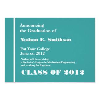 Invitación azul de la graduación de la universidad