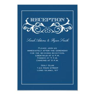 Invitación azul de la recepción del remolino del