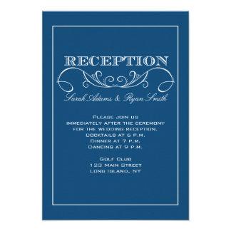 Invitación azul de la recepción nupcial del remoli