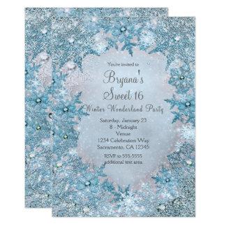 Invitación azul de los copos de nieve del país de