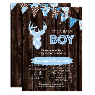 Invitación azul de madera rústica de la fiesta de