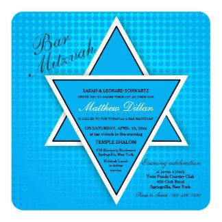Invitación azul de Mitzvah de la barra