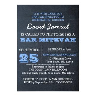Invitación azul de Mitzvah de la barra de la