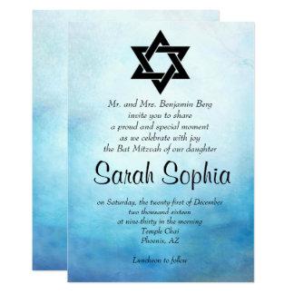 Invitación azul de Mitzvah del palo, acuarela,