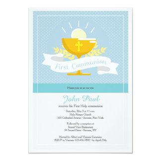 Invitación azul de Polkadot de la primera comunión