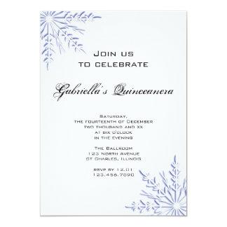 Invitación azul de Quinceanera del copo de nieve