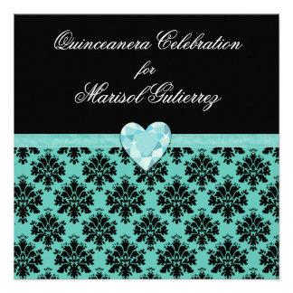 Invitación azul de Quinceanera del corazón de la j
