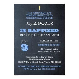 Invitación azul del bautismo de la pizarra